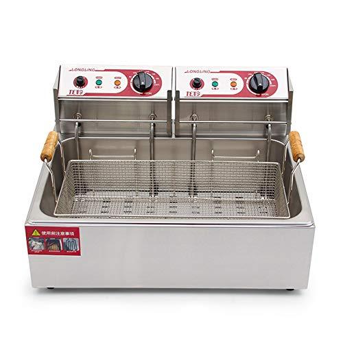 Friteuse Commerciële eencilinder-dubbele kop, 20 liter elektrische friteuse met roestvrijstalen braadmand en 5-rings verwarmingsbuiswerkblad van roestvrij staal
