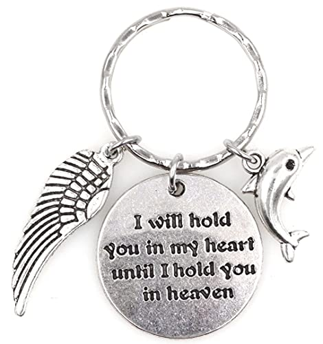 I Will Hold You in My Heart Until I Hold You in Heaven Angel Wing Bereavement Memorial Sympathy Loss of Loved One Dolphin Keychain 115C