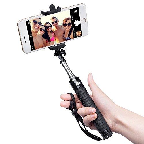 TaoTronics Bastone Selfie Bluetooth Selfie Stick Portabile Estendibile Fino a 80cm, Controllo Wireless, Compatibile con Smartphone Android e iOS iPhone X 8 7 7 Plus 6 6s 6s Plus Samsung Galaxy Huawei