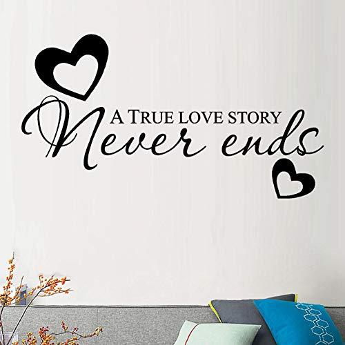 UDPBH Een waar liefdesverhaal eindigt nooit muursticker citaten muur raamdecoratie slaapkamer decoratieve Stickers Pvc Letter Stickers