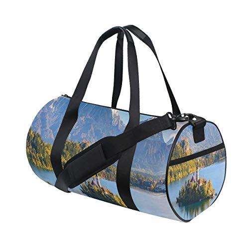 HARXISE Bolsa de Viaje,Lago Bled Eslovenia con Isla en el Medio Que Contiene Edificios Retro,Bolsa de Deporte con Compartimento para Sports Gym Bag