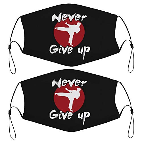 Never Give Up Karate Kick Design Kids Face Mask Set of 2 with 4 Filters Washable Reusable Adjustable Black Cloth Bandanas Scarf Neck Gaiters for Adult Men Women Fashion Designs