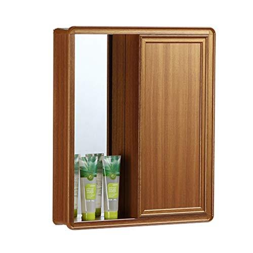 Armoire de toilette avec porte armoire de toilette cachée armoire de l'espace en aluminium armoire de rangement de salle de bain (Color : Brown, Size : 70 * 67 * 13cm)