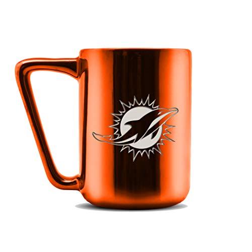 Duck House LCE NFL Cleveland Browns Keramik Lasergravur Kaffeetasse – Metallic-Finish, 454 ml, LCE, Miami Delfine, 16 oz