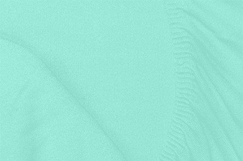 Double Jersey – Spannbettlaken 100% Baumwolle Jersey-Stretch bettlaken, Ultra Weich und Bügelfrei mit bis zu 30cm Stehghöhe, 160x200x30 Aqua - 7