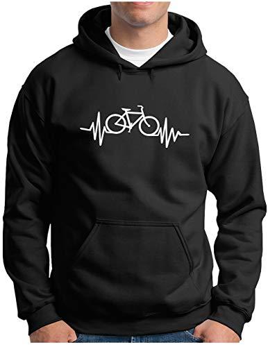 OM3® Herzschlag-Fahrrad Hoodie | Herren | Bike Heartbeat Bicycle Rad Drahtesel | Kapuzen-Pullover Schwarz, L