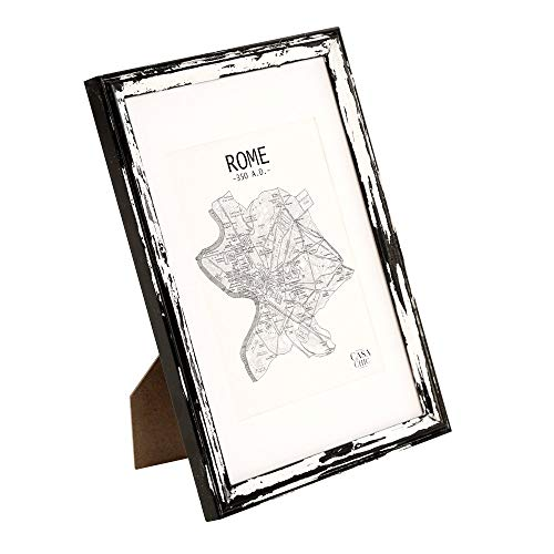 Bilderrahmen aus Echtholz A4 mit Glasscheibe - Shabby Chic - 1 Fotorahmen - Rahmenbreite 2cm!