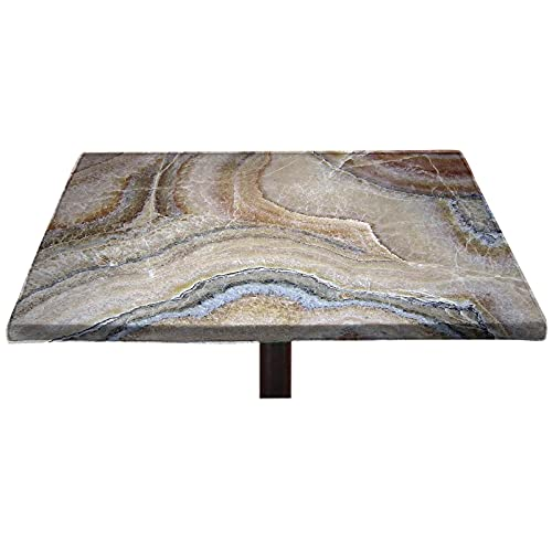 Lyzelre Marble Elastic Edged Polyester Fitted Table Cover, Surreal Onyx Stone Surface Pattern with Nature Details Artistic Picture Fitted Square Table Cloths, Fit 32'x32' Square Table for Banquet
