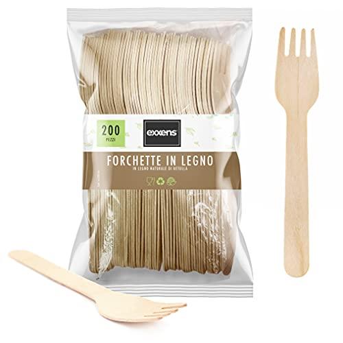 Forchette Biodegradabili, Posate USA e Getta, No plastica, Compostabili in Legno, 200pz (Forchette)