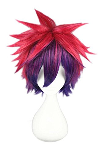 etruke Anime court multicolore Parti Cosplay Perruques mâle