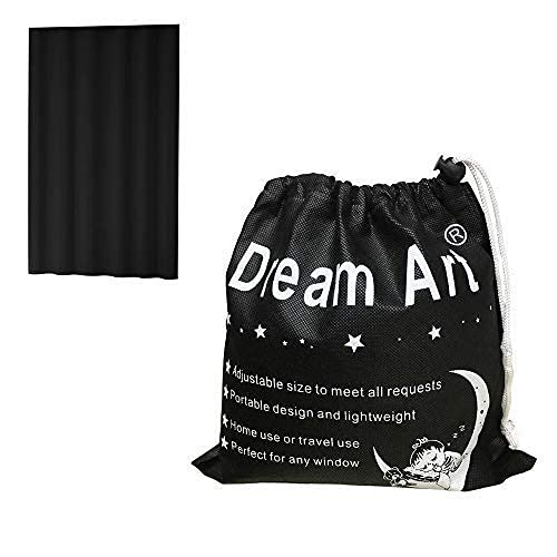 DREAM ART Anywhere Portable Blackout Curtain/Adjustable Blackout Shades/Temporary Blackout Blinds with Suction Cups for Nursery,Children Kids Bedroom or Travel Use,Black,1 pc W51xL72Inch(130X183cm)