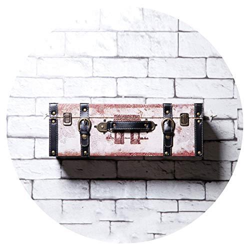 WENZHE Baldas Flotantes Estantes Estantería De Pared Madera PU Maleta Manual Producción Retro Casa Bar Caja Vintage Accesorios, 12 Colores (Color : White)