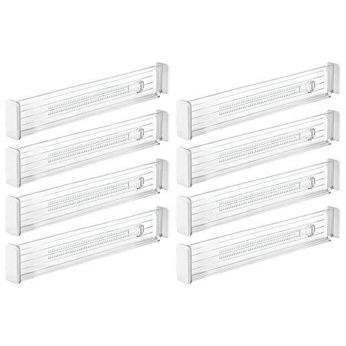 mDesign Juego de 8 separadores de cajones Regulables – Práctico Organizador de cajones para Armario y cómoda – Versátil Divisor de cajones de plástico – Transparente