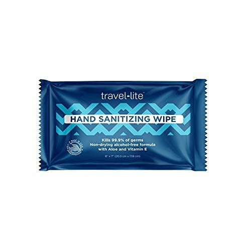 """Travel Lite Alcohol-Free Hand Sanitizing Wipes 200 Individually Wrapped Fresh Scented 8x7"""" Towelettes with Antimicrobial Protection for Adults and Kids Perfect for Travel and on The Go"""