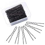 Senkary Lot de 150 épingles à cheveux en forme de U avec boîte de rangement Noir (6 cm)
