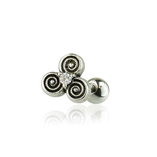 Dynamique 316L Surgical Steel Cartilage/Tragus Barbell with 925 Sterling Silver CZ Centered Celtic Triple Spiral of Life