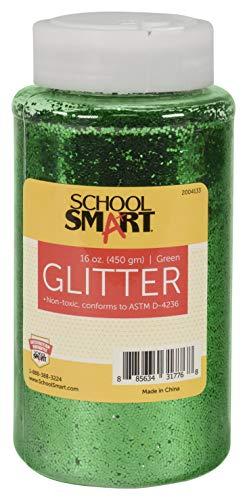 School Smart S2004133 Craft Glitter, 1 Pound Jar, Green