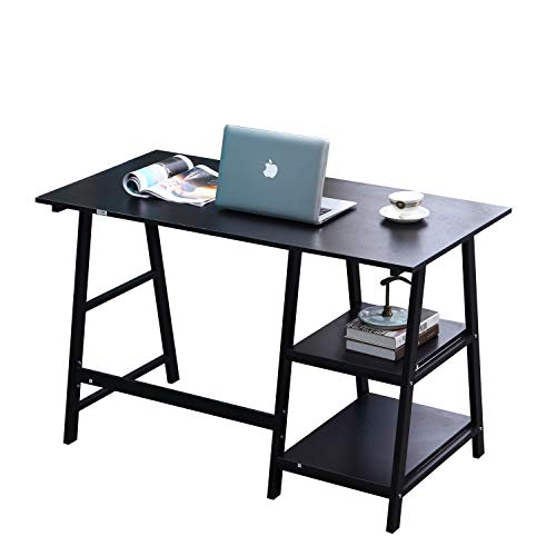 SogesPower Writing Computer Desk Trestle Desk Laptop PC Desk, Morden Vintage Home Office Sturdy Table, 47 inches Black