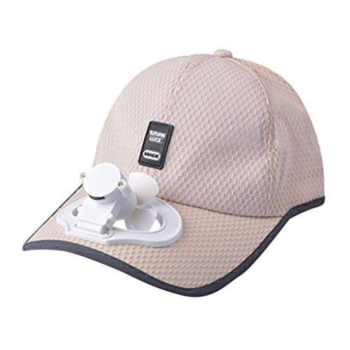 Lomsarsh Sombrero con ventilador pequeño, ventilador de verano Gorra de béisbol refrescante Sombrero Carga por USB Pantalla transpirable Protector solar Sombrero Protección solar Sombrero para el sol