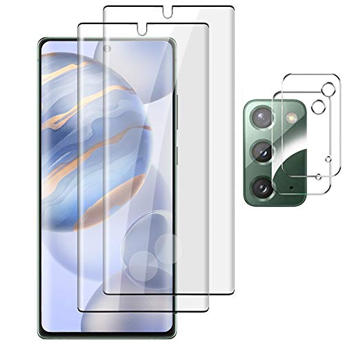 [2+2 Pack] Galaxy Note 20 Screen Protector Tempered Glass, Ultrasonic Fingerprint Sensor Compatible, Premium Adhesive, Bubble Free, 3D Curved, Glass Screen Protector for Samsung Galaxy Note 20 5G 6.7''
