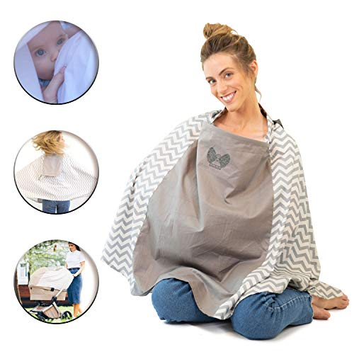 Nursing Cover Poncho, 360° Full Privacy, Open Window for Eye Contact, Multi Use Cover for Baby Stroller Cover, Carry Bag, Soft Breathable Cotton, Baby Shower Gifts for Boy&Girl