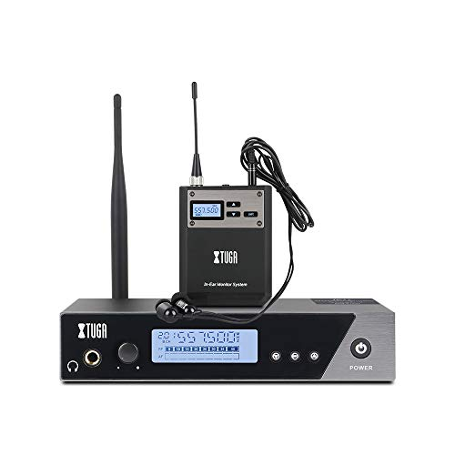XTUGA IEM1100 UHF Single Channel in Ear Monitor System Selectable Frequency Wireless Professional in-Ear Monitor System Ideal for Stage, Studio, Exhibit, Lecture, Speech
