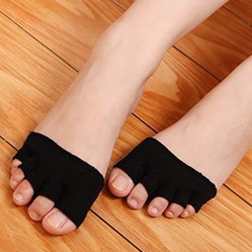 Sandali da donna e ragazza, antiscivolo, tacco alto, a mezzaluna, invisibili, punta aperta lavorata a maglia, 5 paia di calzini per assorbire il sudore, colore nero