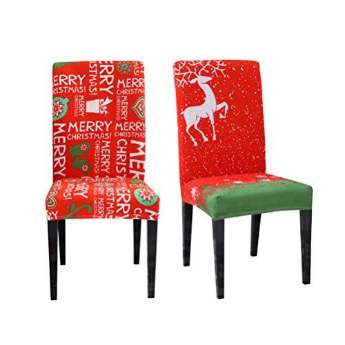 VOSAREA 2 Stücke Weihnachten Stuhlhussen Stretch Hussen Elastische Stuhlüberzug Stuhlabdeckung Stuhlbezug Restaurant Bankett Stuhl Stretchhusse Spannbezug Deko Weihnachtsdeko