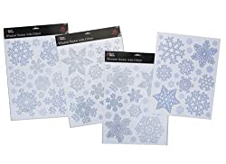 Silver And Blue Glittery Snowflake Window Stickers