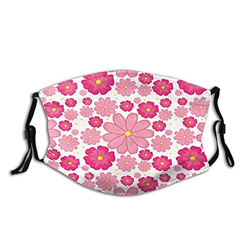Pink Flower Seamless Background Mens Women Washable Reusable Bandanas 3D Print Breathable Mouth Cover with 2 Filter,1PCS,