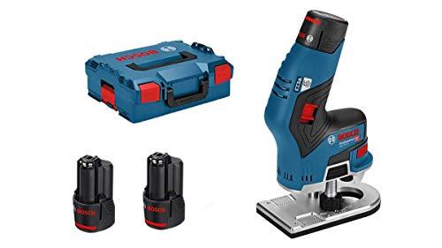 Bosch Professional Akku Kantenfräse GKF 12V-8 (Fräskopf-Schaft: 8 mm, inkl. 2x 3,0 Ah Akku + Schnellladegerät, Spannzange, Maulschlüssel, in L-BOXX 136)