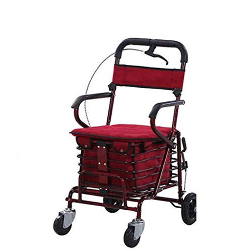 UWY Old People Einkaufswagen Trolley Walker kann sitzen kann schieben kann klappbar Einkaufswagen Vier Räder leicht und Convenie, rot
