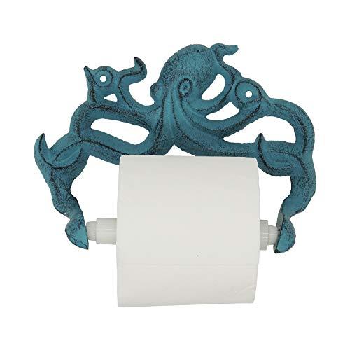 Portabobinas Decorativo de Hierro Fundido Octopus para Papel Higiénico - Decoración de Pared para Baño - Kraken, Accesorios Náuticos para Baño - los Tornillos y Anclas incluidos - Azul