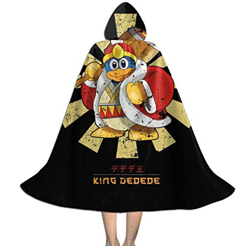 King Dedede Retro Japanese Kirby Unisex Kids Hooded Cloak Cape Halloween Christmas Party Decoration Role Cosplay Costumes Outwear Black