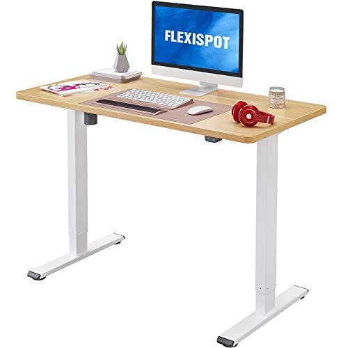 Flexispot EC1 Electric Adjustable Height Standing Desk 48 x 30 Inches Whole Piece Board Sit Stand Desk Base Home Office Computer Table Stand up Desk Classic(White Frame + 48 in Natural Top)