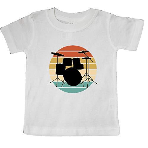 inktastic Drum Set Retro Drummer Sunset Baby T-Shirt 12 Months White