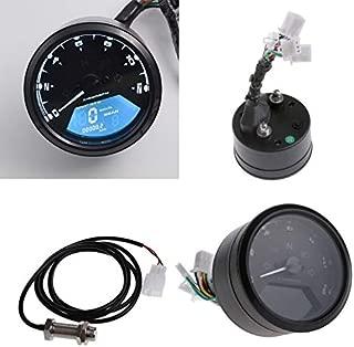 Felix-Box - Multi-function LCD Digital Motorcycle Odometer Tachometer Speedometer Gauge 12000RPM Alarm Function