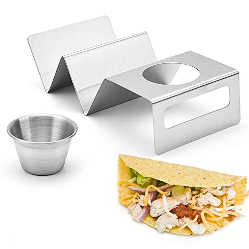Taco Holders, Taco Holder Stand Stainless Steel Taco Tray, Taco Shell Holder Rack Plate With Sauce Cup For Dishwasher/Oven/Grill, Good Holder Stand On Table