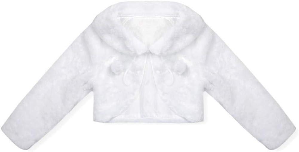 Flower Girls Wedding Party Faux Fur Bridal Jacket Coat Evening Bolero Fall Winter Kids Shrug Jackets Children Cape