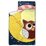Lindo búho dormido con estrellas de la luna Cunas abiertas y cerradas para los...