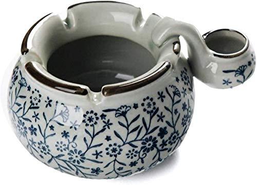 qingtianlove Antiguo cenicero de cerámica Azul y Blanco Vintage Pintado a Mano...