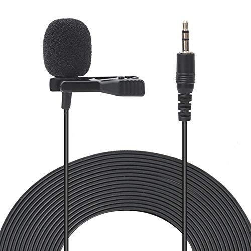 Goshyda Mini micrófono de Condensador con Clip de 1,5 m, micrófono de Solapa portátil con Modo de Transporte Completo, para teléfono móvil, portátil, Conferencia, entrevista