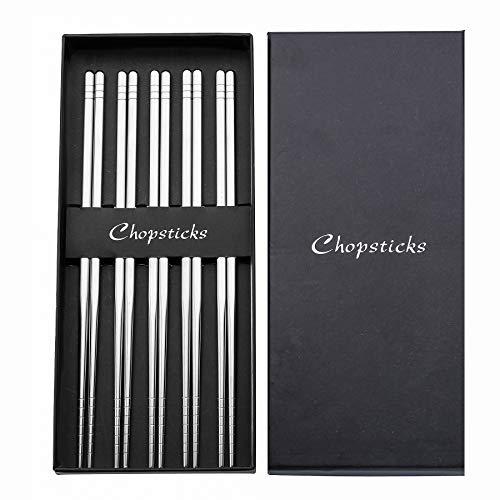 5 Pairs Stainless Steel Chopsticks Set INSAMPAD Reusable Chopsticks Dishwasher Safe Nonslip Metal Chopsticks With Case