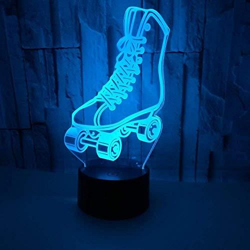 Creativo 3D Zapatillas De Skate Luz De Noche 7 Colores Que Cambian Usb Poder Touch Switch Ilusión...