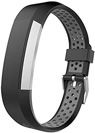 UMTELE Compatible with Fitbit Alta Bands, Two-Tone Perforated Wristband with Metal Buckle Clasp Replacement for Fitbit Alta/Alta HR/Fitbit Ace