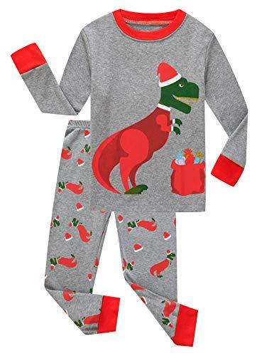 Family Feeling Little Boys Girls Long Sleeve Christmas Pajamas Sets 100% Cotton Kids Holiday Pyjamas Toddler Kids Pjs Size 4T Dinosaur
