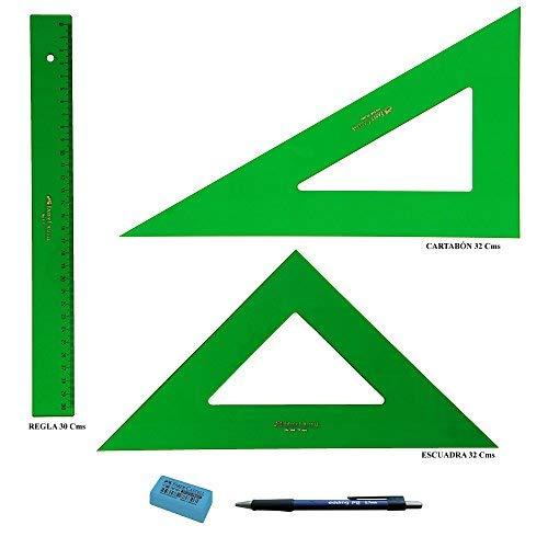 PACK LOTE Faber Castell Técnico - Regla 813-30 Cms + Escuadra 566-32 Cms + Cartabón 666-32 Cms + REGALO