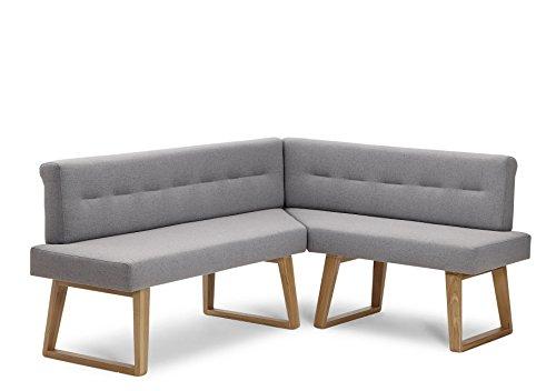 Naturnah Möbel Eckbank Divine. Modernes Design aus Leder und Massivholz, Wildeiche. Exklusive Anfertigung, nachhaltig produziert. (170 x 200 cm, Dunkelbraun)