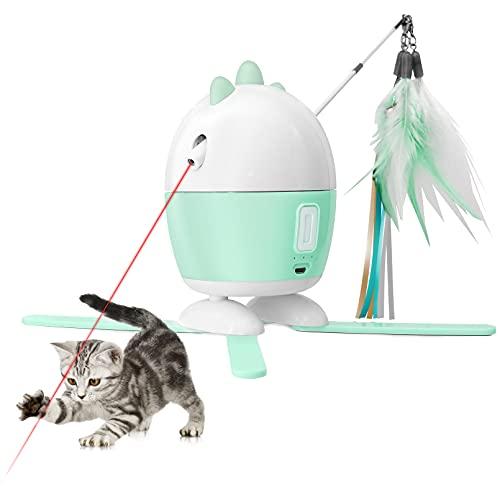 Pemaxs Interaktives Elektrischer Katzenspielzeug,360° Unregelmäßig Automatisch Drehbarem Feder & Bänder,Mit USB Aufladbar und LED Pointer,Federspielzeug für Cat Haustiereignung