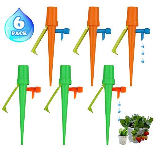 6 Stück Pflanzen Bewässerung, Automatische Bewässerung Set für Topfpflanzen mit Einstellbar Ventil und Anti-Fall Halterung, Bewässerungssystem Balkon Blumen Wasserspender Passen für Meisten Flaschen